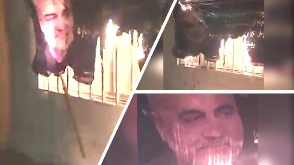 Torching Qassem Soleimani's banner in Kerman - April 15