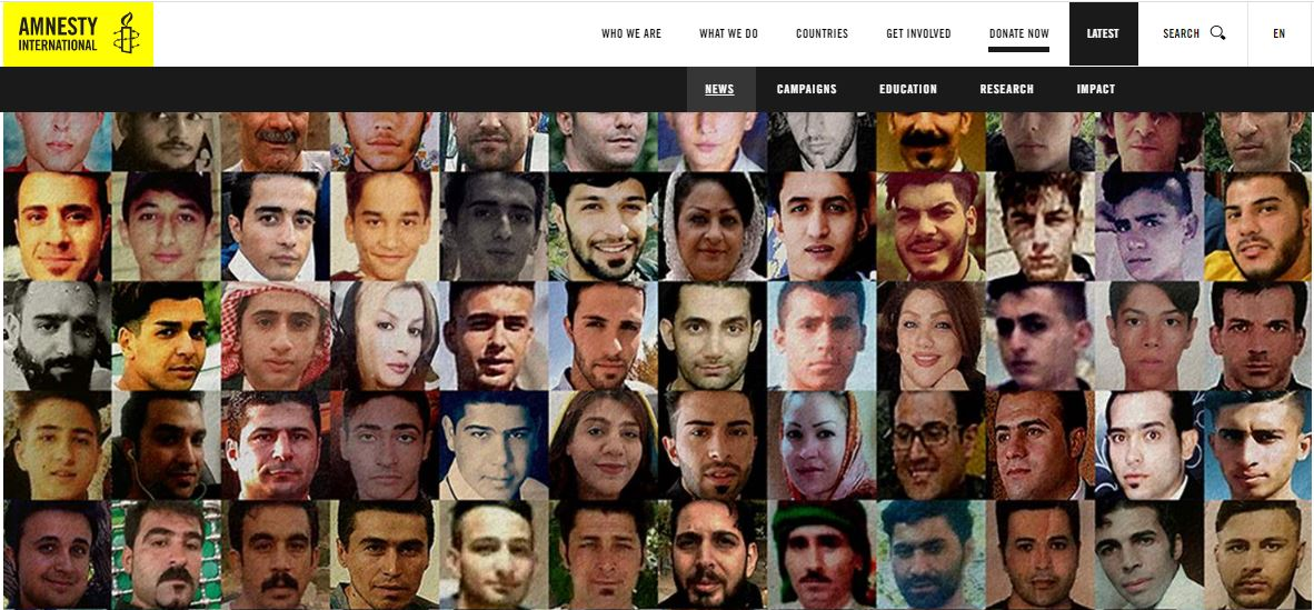 Amnesty International Once Again Highlights Regime's Killing of Protesters During Iran Protests