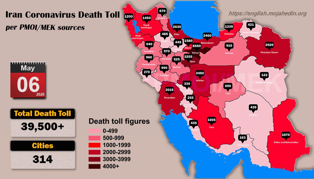 Iran: Coronavirus Fatalities Exceed 39,500 in 314 Cities