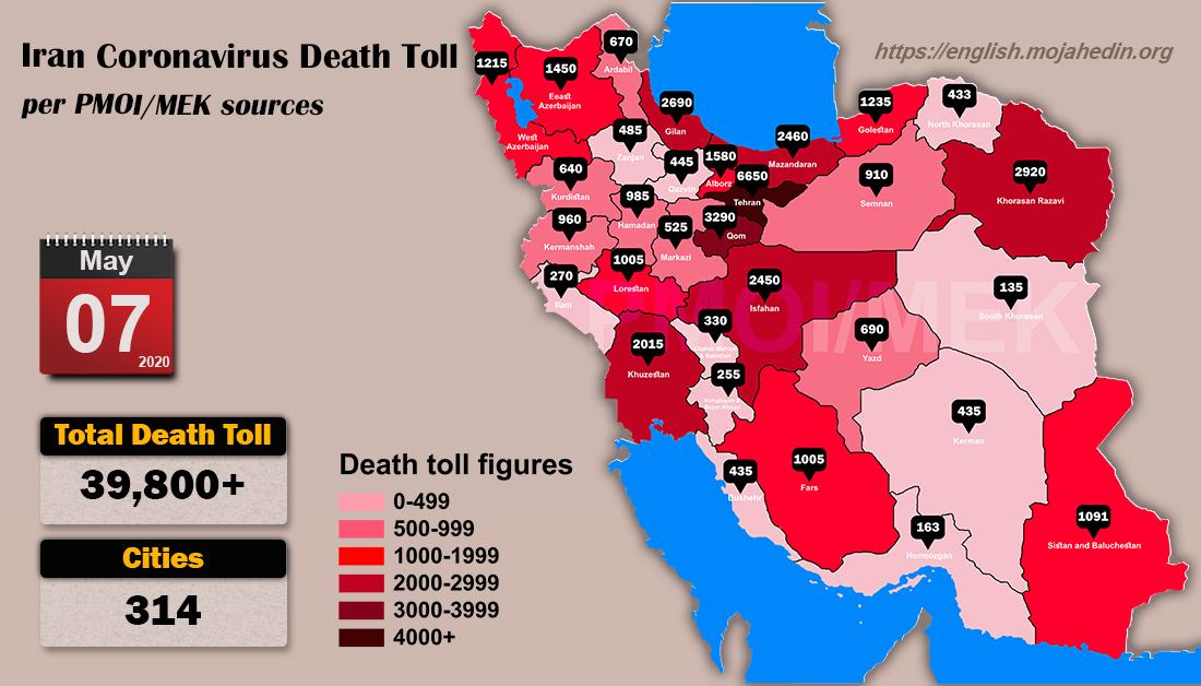 Iran: Coronavirus fatalities in 314 cities exceeds 39,800