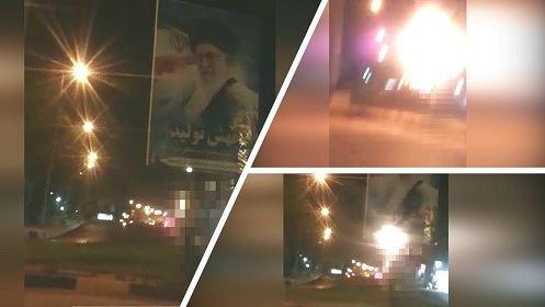 Andimeshk- Torching Khamenei's bill-board- June 19, 2020