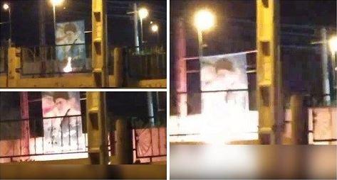 Hamedan- Torching Khamenei's banner- June 13, 2020