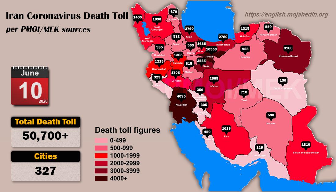 Iran: Coronavirus Update, Over 50,700 Deaths, June 10, 2020, 6:00 PM CEST