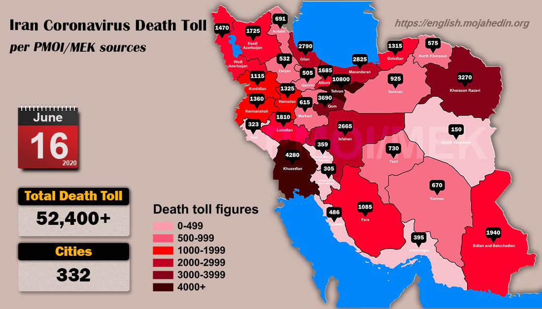 Iran: Coronavirus Update, Over 52,400 Deaths, June 16, 2020, 6:00 PM CEST