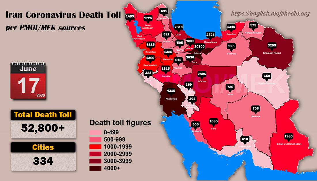 Iran: Coronavirus Update, Over 52,800 Deaths, June 17, 2020, 6:00 PM CEST