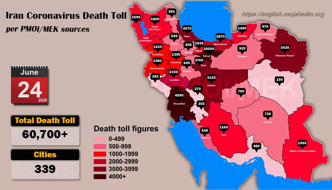 Iran: Coronavirus Update, Over 60,700 Deaths, June 24, 2020, 6:00 PM CEST