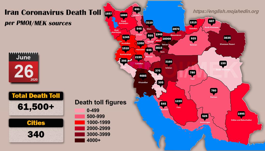 Iran: Coronavirus Update, Over 61,500 Deaths, June 26, 2020, 6:00 PM CEST
