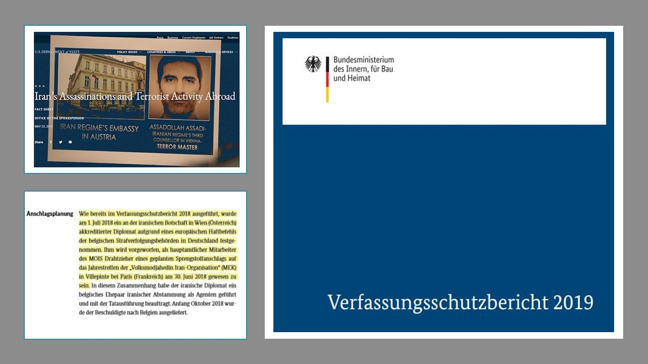 Germany Federal Office for the Protection of the Constitution 2019 Highlights Iran Regime's Terrorist Attempts Against MEK