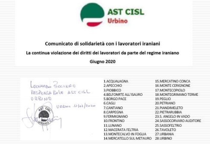 Italian Confederation of Workers' Trade Unions (CISL) Announces its Solidarity With Iran's Workers in a Statement