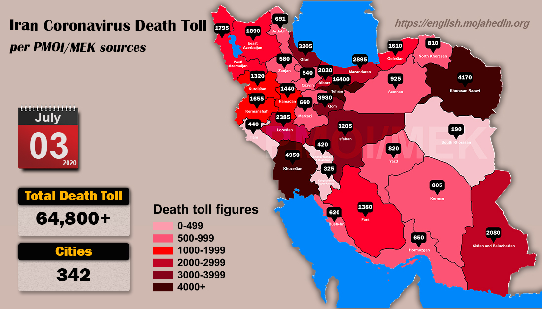 Iran: Coronavirus Update, Over 64,800 Deaths, July 3, 2020, 6:00 PM CEST
