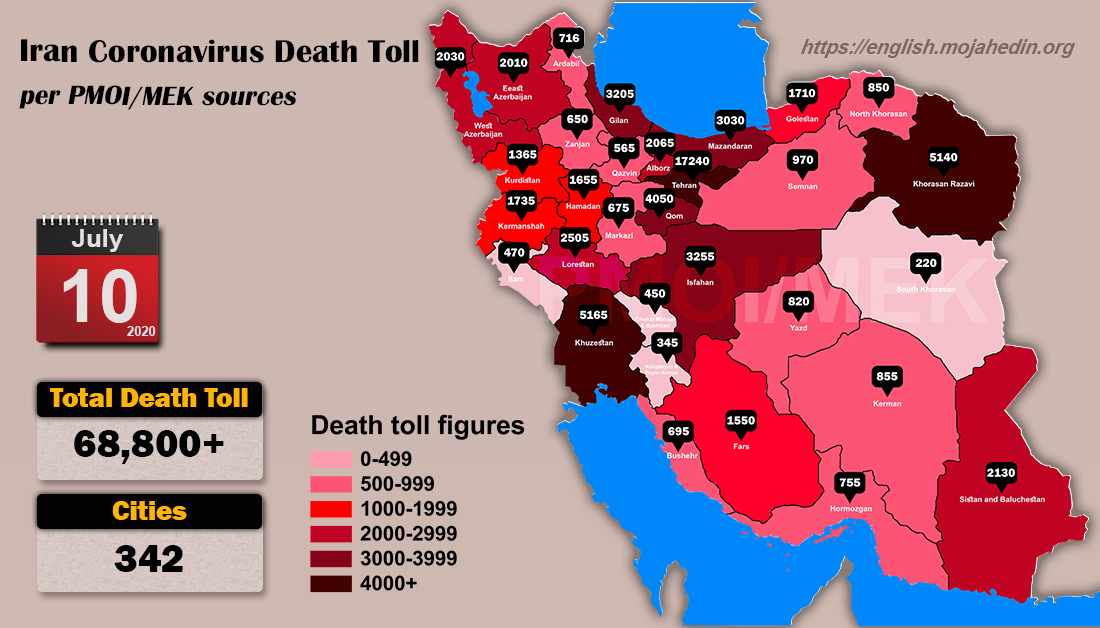 Iran: Coronavirus Death Toll in 342 Cities Exceeds 68,800