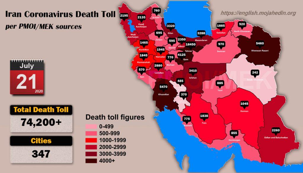 Iran: Coronavirus Death Toll in 347 Cities Surpasses 74,200