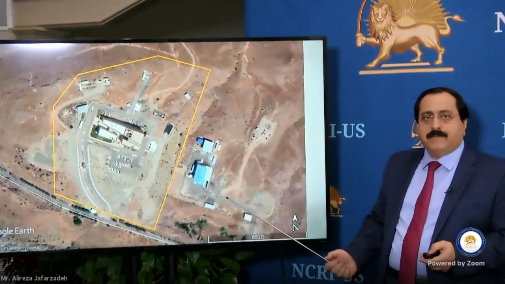 NCRI-US Deputy Director, Alireza Jafarzadeh, using a power point presentation, showed maps, graphs, and charts of the covert organization as well as names of individuals involved in the Iranian regime's nuclear program - October 16, 2020