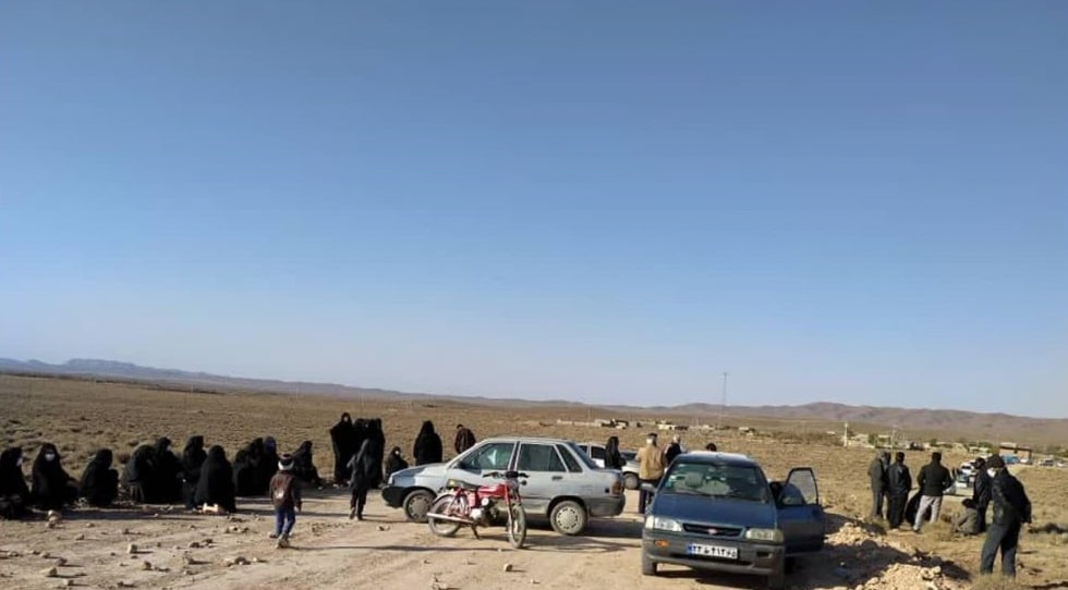 Locals in the village of Banan-e Bala near Zarand County, Kerman Province, hold a protest