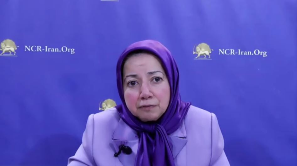 Ms. Dowlat Norouzi, Director of the NCRI UK Office, delivers the message of NCRI President-elect Maryam Rajavi
