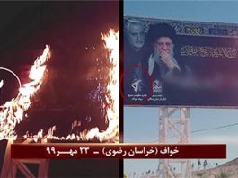 Khaf (Khorasan Razavi) – Torching Khamenei and Qassem Soleimani's billboard – October 14, 2020