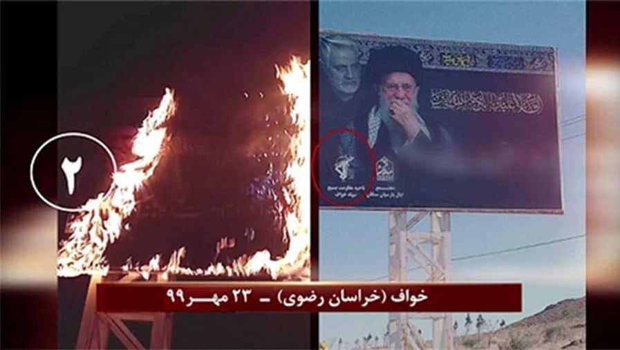 Khaf (Khorasan Razavi) – Torching Khamenei and Qassem Soleimani's billboard – October 14, 2020