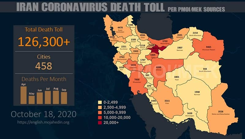 Iran, coronavirus update - October 18, 2020 - source MEK