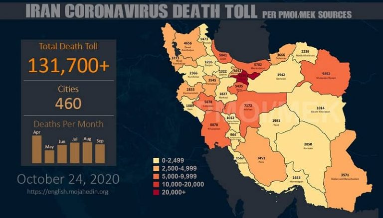 Iran: The Staggering Number of Coronavirus Fatalities in 460 Cities Exceeds 131,700