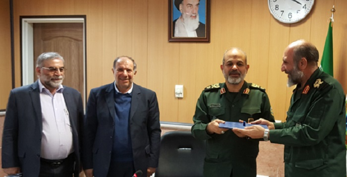 From left: Mohsen Fakhrizadeh Mahabadi, former Defense Minister, Mohammad Najjar, Brig. Gen. Ahmad Vahidi, the head of National Defense University's Research Instittue, and Brig. Gen. Na'man Gholami, acting commander of the Paramilitary Bassij - January 5, 2019