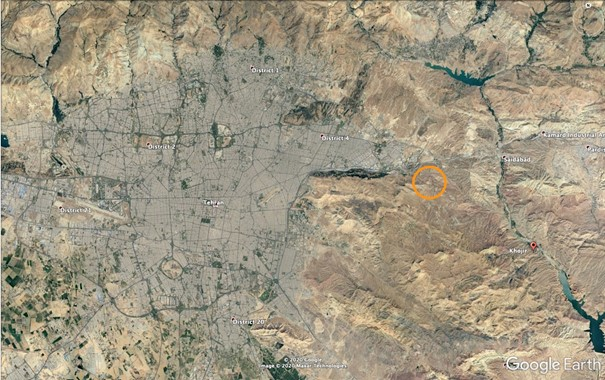 General map of Tehran where new SPND site is marked in circle.