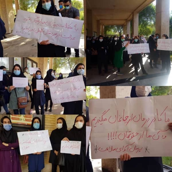 Health care workers and nurses in Ahvaz protest their delayed paychecks