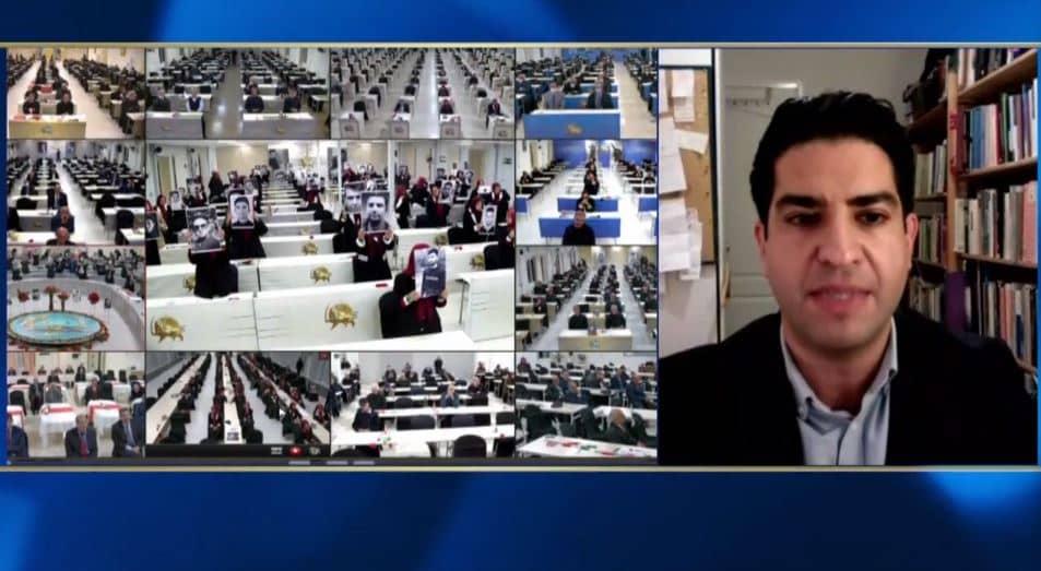 Ali Pahlavan speaks at the online conference