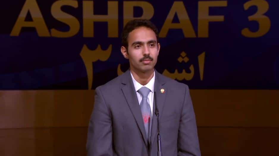 Amir Pasha Borjkhani speaks at the online conference from Ashraf-3