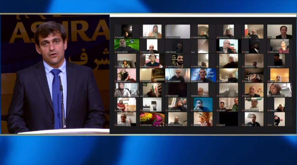 Behnam Karimi speaks at the online conference from Ashraf-3