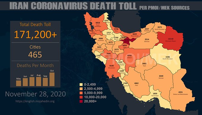 Iran: Coronavirus Fatalities in 465 Cities Exceeds 171,200
