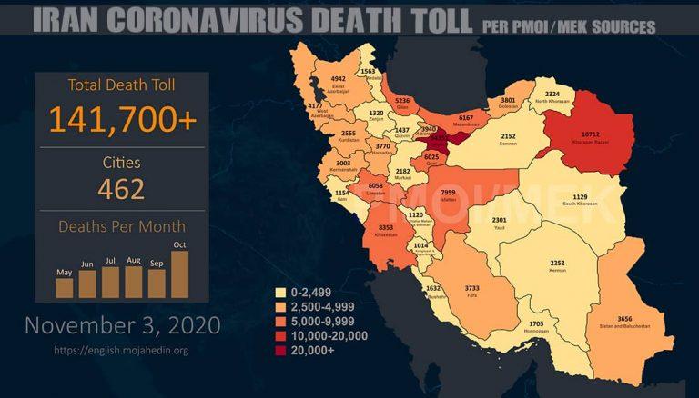 Iran: Coronavirus Death Toll Surpasses 141,700 in 462 Cities