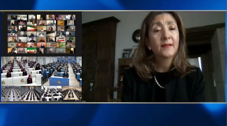 Ingrid Betancourt speaks at the online conference