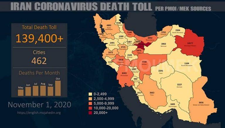Iran: Coronavirus Catastrophe – Fatalities Exceed 139,400 in 462 Cities