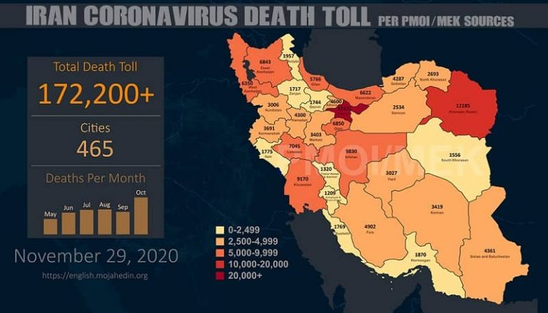 Iran: COVID-19 Death Toll in 465 Cities Exceeds 172,200