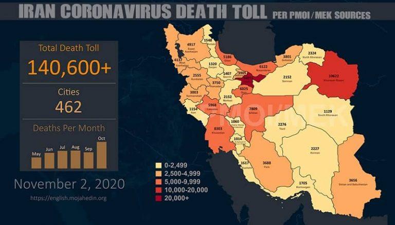 Iran: Coronavirus Catastrophe – Fatalities Exceed 140,600 in 462 Cities