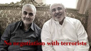Qassem Soleimani, the killed Qods Force terrorist (left) and the Iranian regime's Foreign Minister, Mohammad Javad Zarif (right)