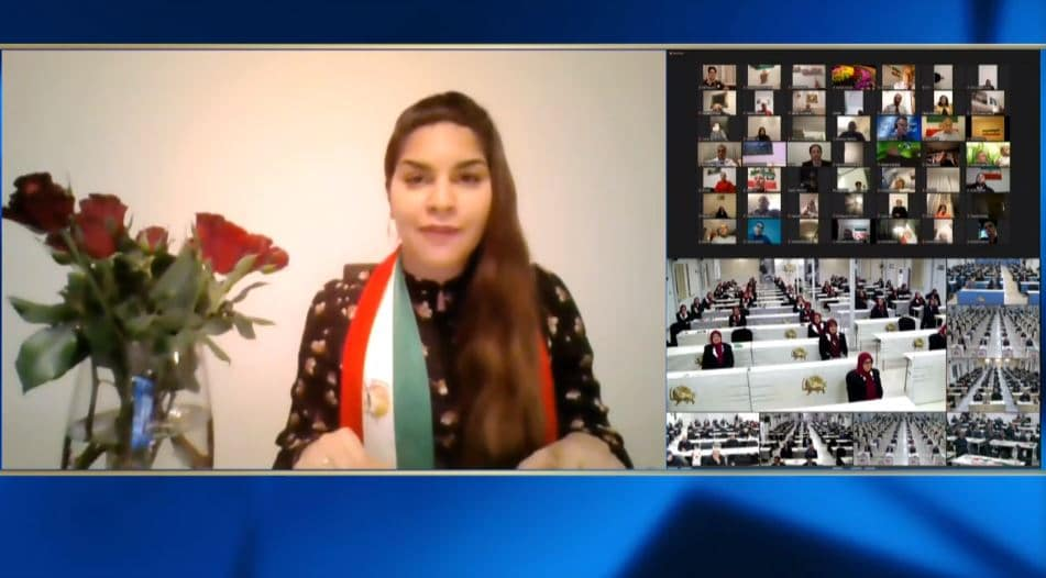 Neda Amani speaks at the online conference