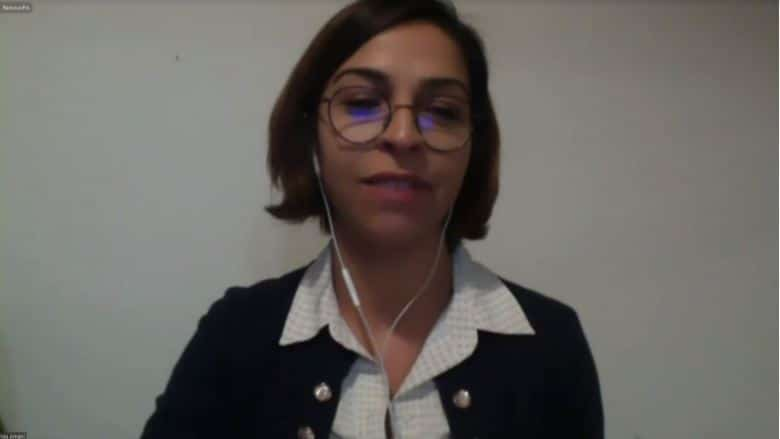Vida Amani speaks at the online conference