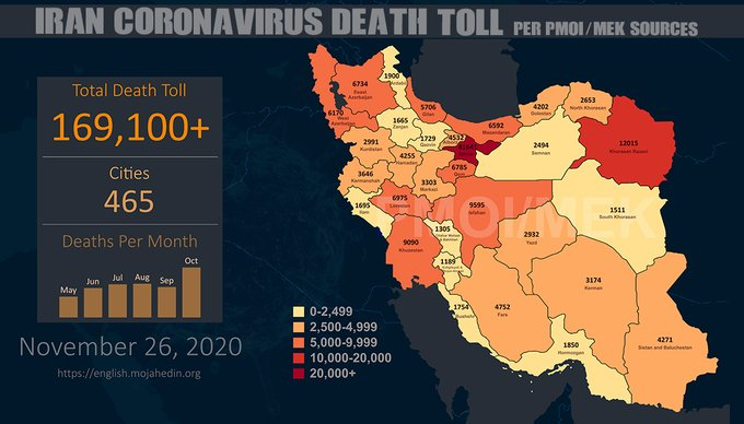Iran: Coronavirus Fatalities in 465 Cities Exceeds 169,100