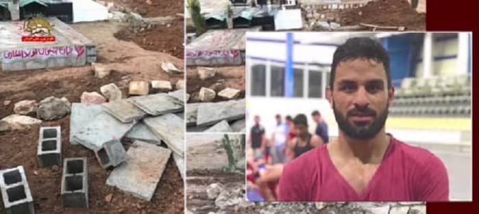 A photo, displaying, how regime thugs have destroyed the grave of the national wrestling hero, Navid Afkari, who was executed last September for taking part in protests against the regime in June 2018- December 2020
