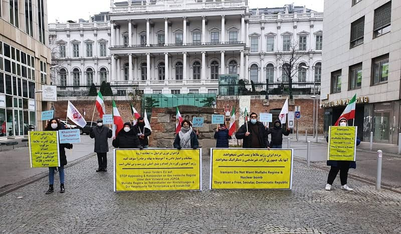 Supporters of the MEK and member of the Iranian diaspora in Vienna hold a rally - December 16, 2020