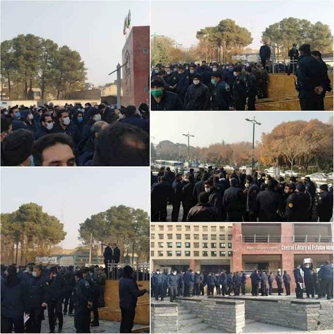 Pekerja kota Ilam di barat laut Iran mengadakan pertemuan protes di depan Kehakiman provinsi Ilam - 13 Desember 2020