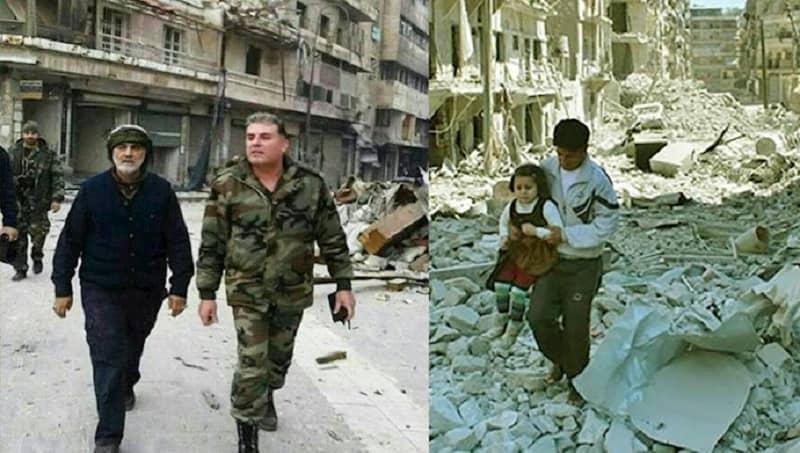 Kiri: Qassem Soleimani, komandan Pasukan Quds di Suriah - Kanan: Sebuah kota yang dibombardir dan dihancurkan oleh rezim Suriah dan Pasukan Quds rezim Iran