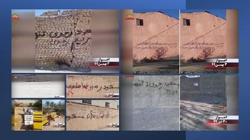 """Ahvaz - Menulis grafiti oleh pendukung MEK dan Unit Perlawanan - """"Dunia harus tahu, Massoud adalah pemimpin kita"""" - Minggu terakhir Januari 2021"""