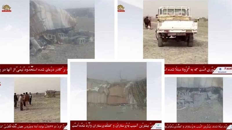 Zarabad district of Konarak – Regime Judiciary agents and SSF destroyed the makeshift shelters of flood-stricked Baluchies, while beating and arresting three locals who were trying to prevent them – January 22, 2021