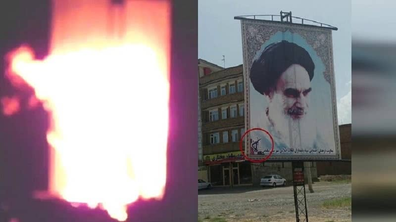 Salmas – Torching large banner of Khomeini – January 27, 2021