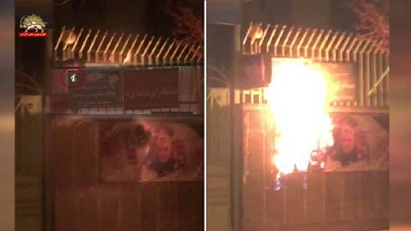 Neyshabur- Membakar tanda masuk dan spanduk Qassem Soleimani dari basis Basij yang represif- 2 Januari