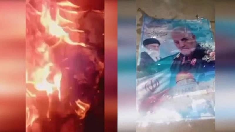 Membakar plakat Qassem Soleimani - 2 Januari 2021