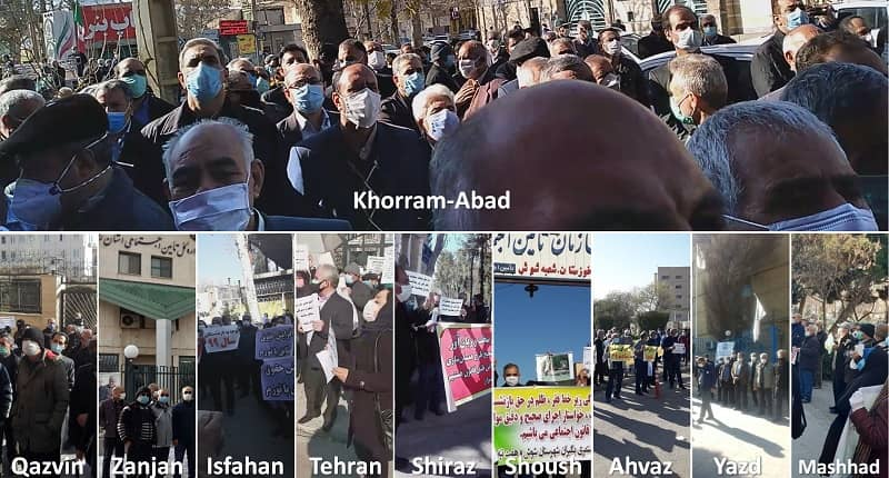 The Social Security Organization's retirees held protests in at least 11 provinces and 22 cities across Iran on Sunday, January 3, 2021