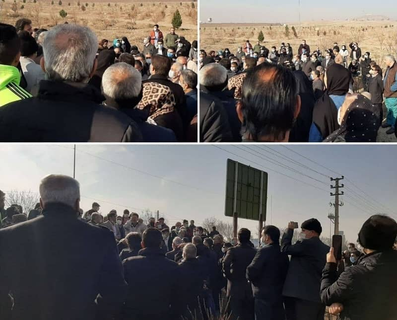 Landowners in the Black Mountain area in the city of Robat Karim, southwest of Tehran province, hod a protest - January 14, 2021